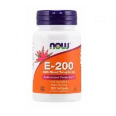 Витамин E-200 Mixed Tocopherols NOW (100 капс)
