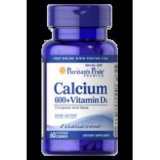 Calcium 600 Vitamin D3 Puritans Pride (60 табл.)