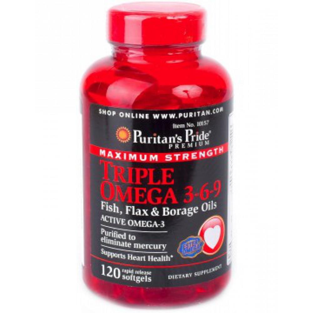 Triple Omega 3-6-9 Maximum Strength (Fish, Flax & Borage Oils) 120 Softgels