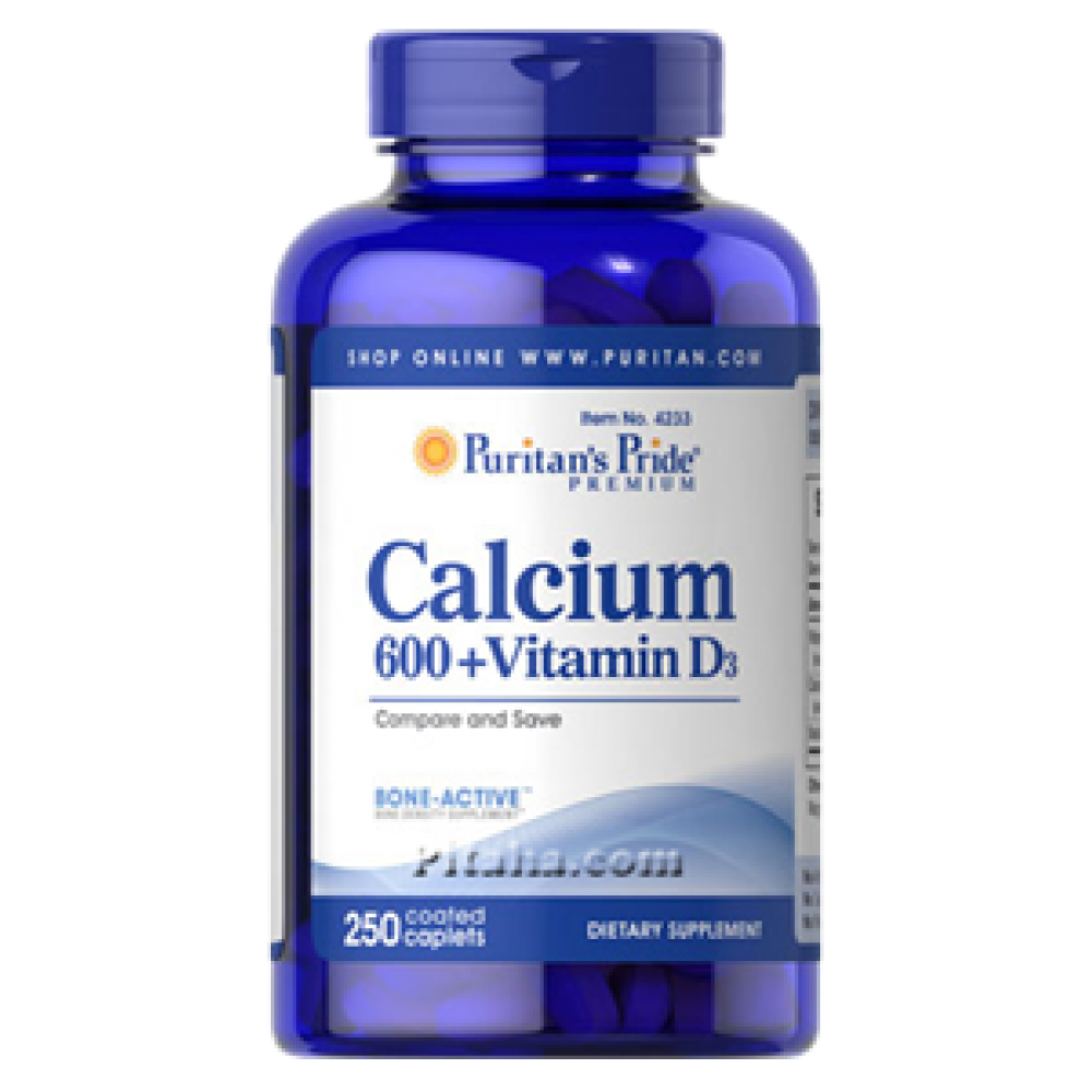 Calcium 600 Vitamin D3 Puritans Pride (250 табл.)