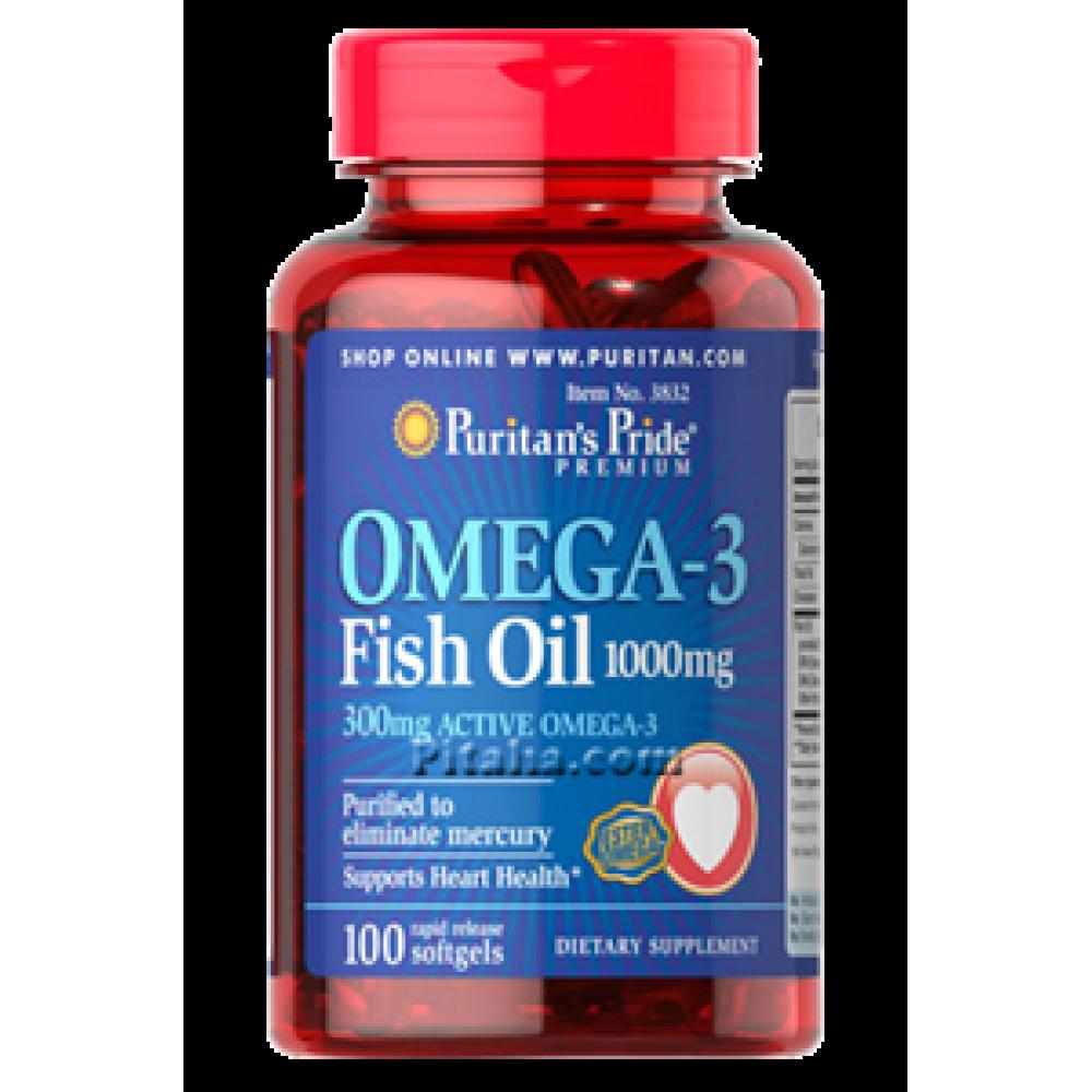 Omega-3 Fish Oil 1000 mg Puritans Pride (100 капс.)