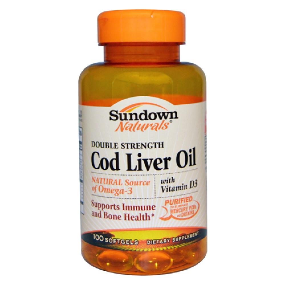 Cod Liver Oil Double Strength With Vitamin D3 Sundown Naturals (100 табл)
