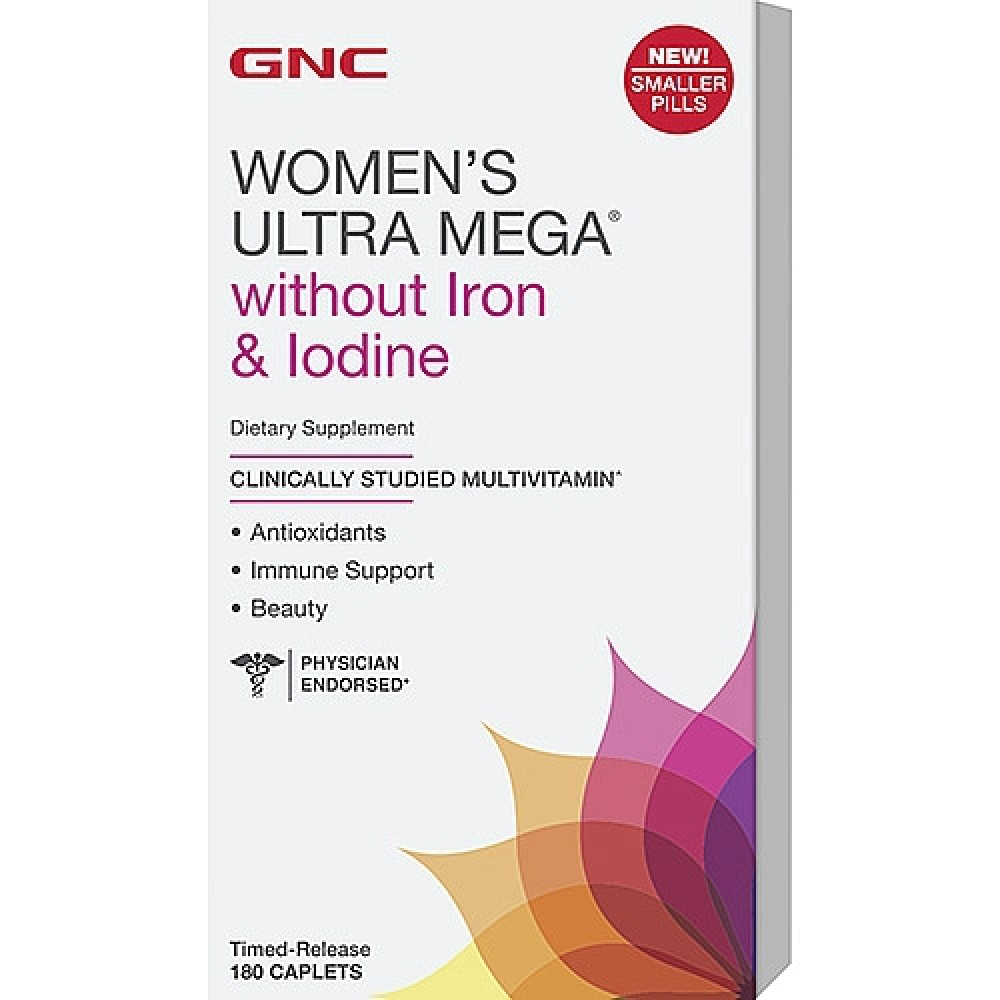 WOMENS ULTRA ACTIVE NO IRON AND JODINE Gnc (180 капс)