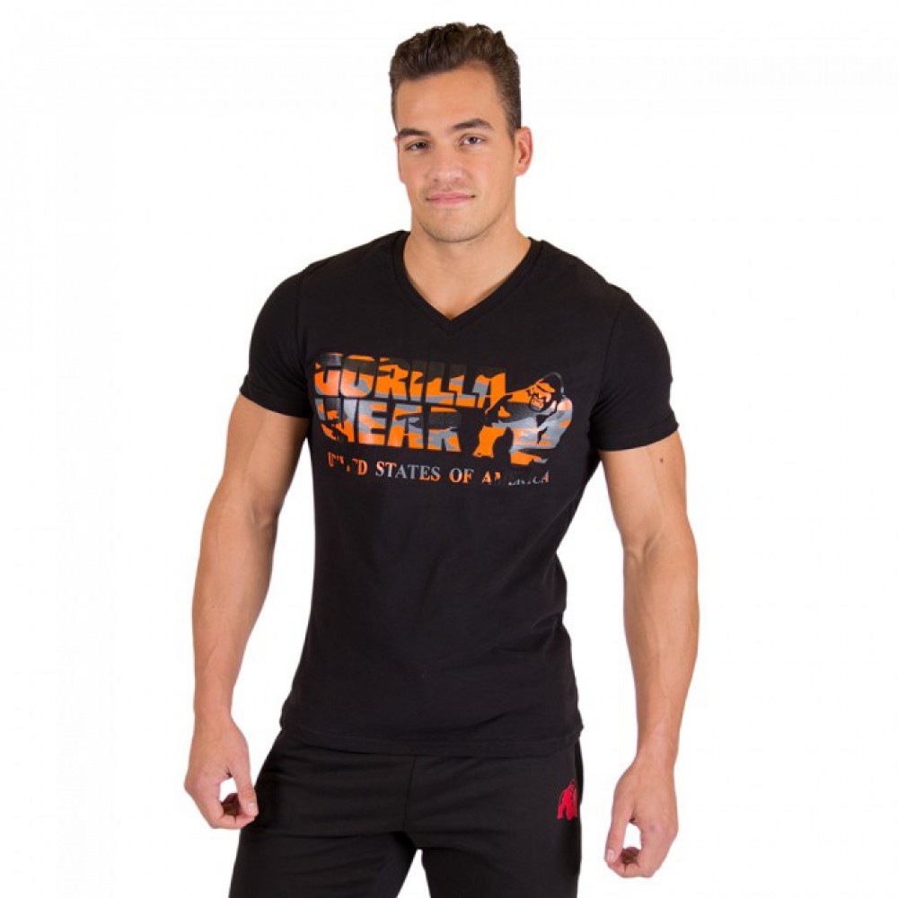 Футболка Sacramento V-Neck Black Neon Orange